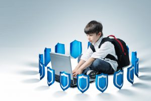 schoolboy use laptop, 3d shields background